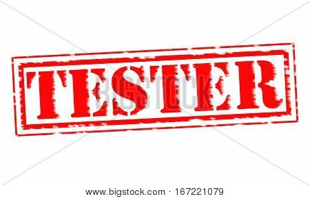 TESTER Red Stamp Text on white backgroud