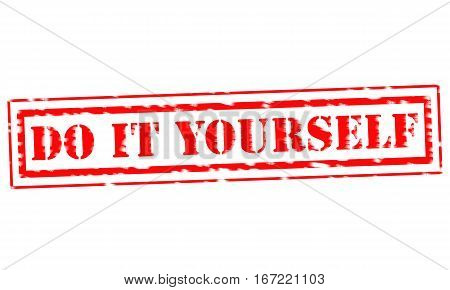 DO IT YOURSELF Red Stamp Text on white backgroud