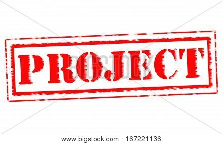 PROJECT Red Stamp Text on white backgroud