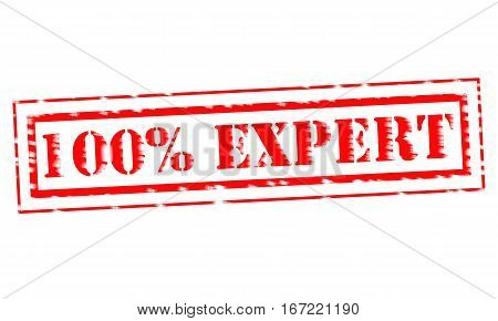 100%EXPERT Red Stamp Text on white backgroud