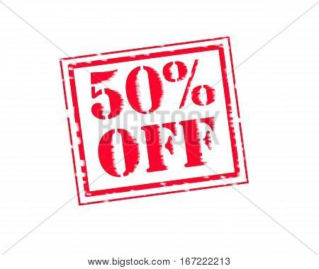 50% OFF RED Stamp Text on white backgroud