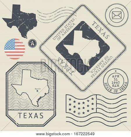 Retro vintage postage stamps set Texas United States theme vector illustration