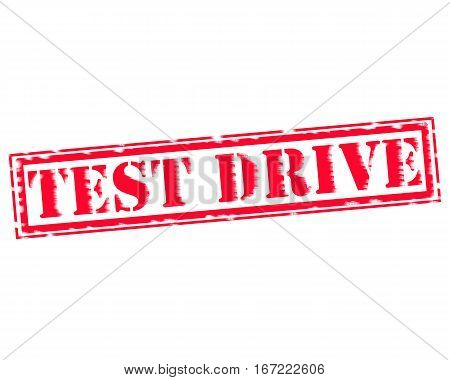 TEST DRIVE RED Stamp Text on white backgroud