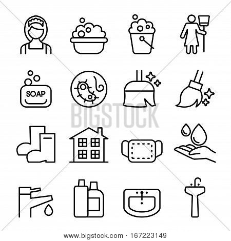 Cleaning Housekeeping wipe washing icon set in thin line style