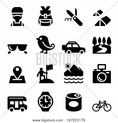 Discovery Traveling Camping Adventure Trail icons set illustration symbol Vector