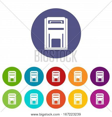 Square post box set icons in different colors isolated on white background