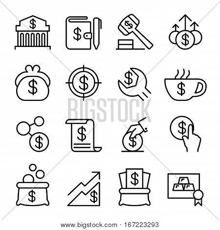 Investment Financial Saving Money Economic icon set in thin line style