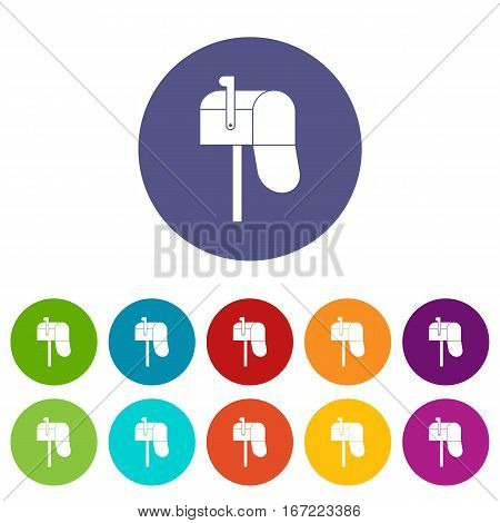 Open mailbox set icons in different colors isolated on white background