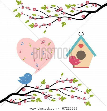 Birds sing a song from the musical notes on trees. Vector illustration on white background.