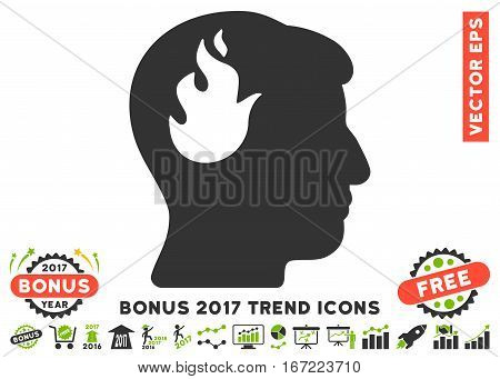 Eco Green And Gray Brain Fire icon with bonus 2017 trend icon set. Vector illustration style is flat iconic bicolor symbols, white background.