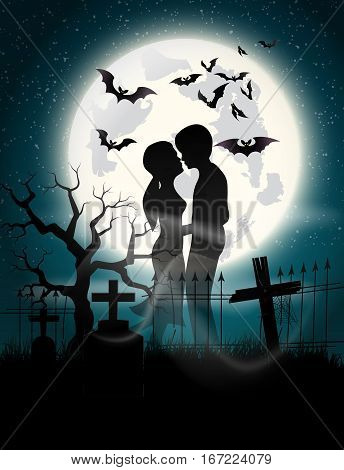Soul lovers in the moonlight at the full moon on Halloween.