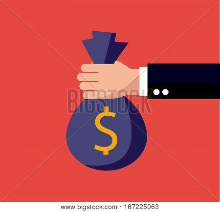 Flat background with, money bag vector illustration