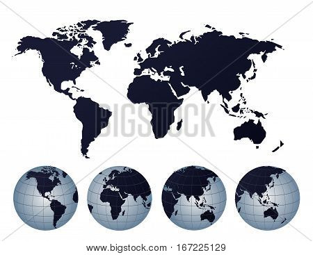 Abstract globes with abstract world map on white