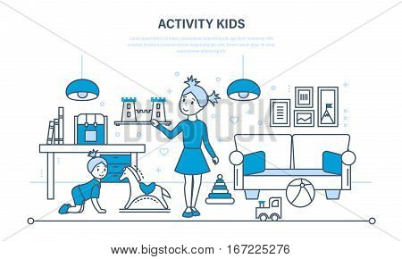 Activity kids. Hobbies, entertainment, games, in the basic time of activities against the background of an interior room. Illustration thin line design of vector doodles, infographics elements.