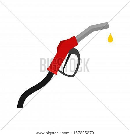 Fuel pump icon isolated on white background. Petrol gas station sign nozzle with drop in flat style.