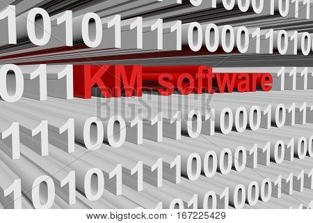 km software in the form of binary code, 3D illustration