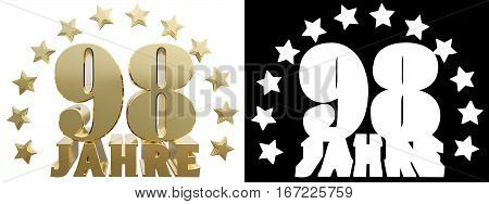 Golden ninety eight and the word of the year decorated with stars. Translated from the German. 3D illustration
