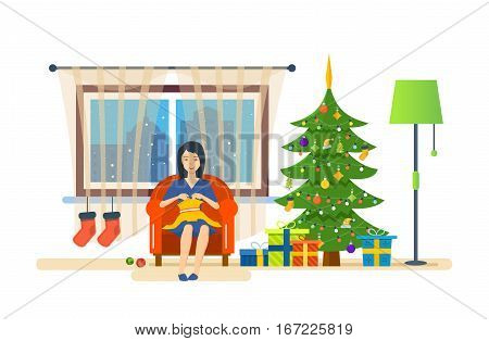Woman housewife, on the eve of the new year, in a quiet environment, knits on the couch, and is engaged in household chores. Vector illustration. Can be used in banner, mobile app, design.