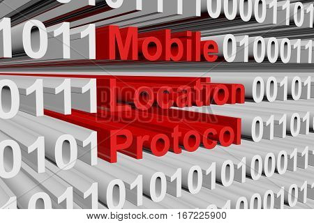 Mobile Location Protocol in the form of binary code, 3D illustration