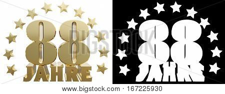 Golden eighty eight and the word of the year decorated with stars. Translated from the German. 3D illustration