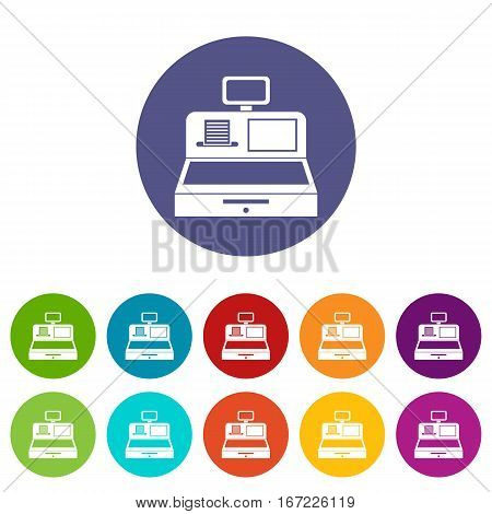 Cash register with cash drawer set icons in different colors isolated on white background