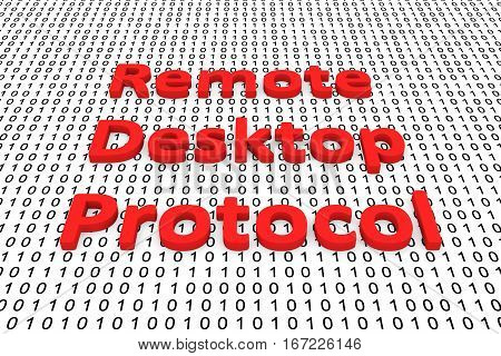 remote desktop protocol in the form of binary code, 3D illustration