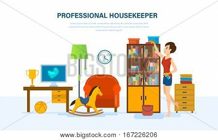 Professional housewife is engaged in cleaning the room, wiping dust in the closet, is engaged in cleaning service, cleans out clutter, against the background an interior room. Vector illustration.