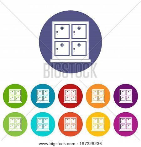 Cells for storage in the supermarket set icons in different colors isolated on white background