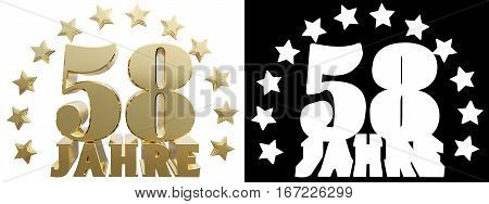 Golden fifty eight one and the word of the year decorated with stars. Translated from the German. 3D illustration