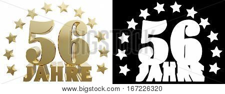 Golden fifty six one and the word of the year decorated with stars. Translated from the German. 3D illustration