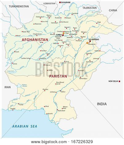 Afghanistan and Pakistan Political Vector Map with capitals Kabul and Islamabad
