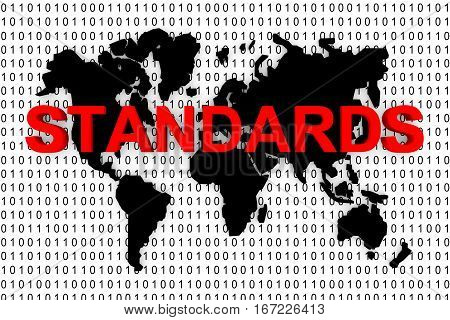 standards world map binary code 3d illustration