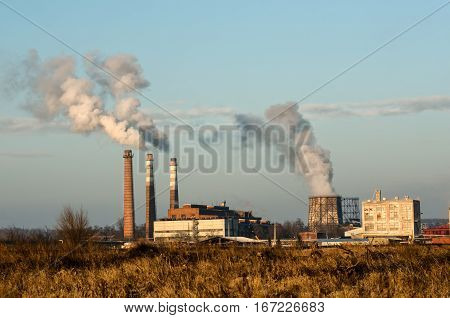 Smoke and pollution of the city chemical industries, petrochemical industries torch. It's a nasty day