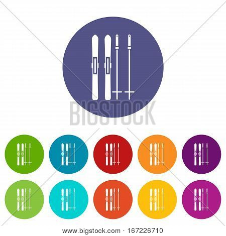 Skis and ski poles set icons in different colors isolated on white background