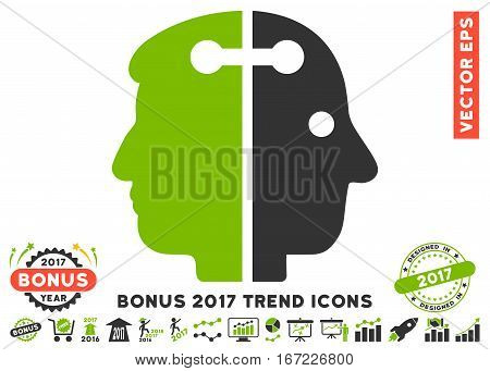 Eco Green And Gray Dual Head Connection pictogram with bonus 2017 year trend clip art. Vector illustration style is flat iconic bicolor symbols, white background.