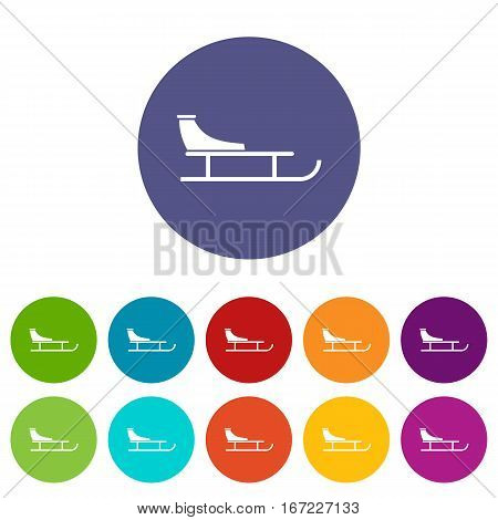 Sled set icons in different colors isolated on white background