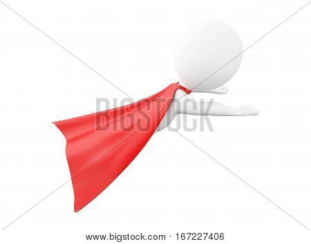 3d renderer image. Super hero with red cape. Isolated white background.