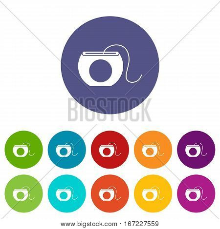 Dental floss set icons in different colors isolated on white background