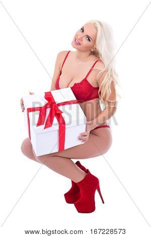 Valentine's Day Or Christmas Concept - Sexy Beautiful Woman In Lingerie With Gift Box Posing Isolate