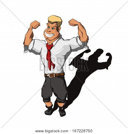 Brawny man, wearing a suit with a rolled-up trouser legs and sleeves, demonstrate his biceps