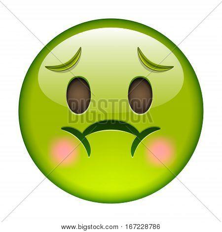 Emoticon With Nausea. Smile Icon. Green Emoji
