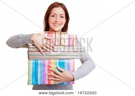 Woman Embracing Presents