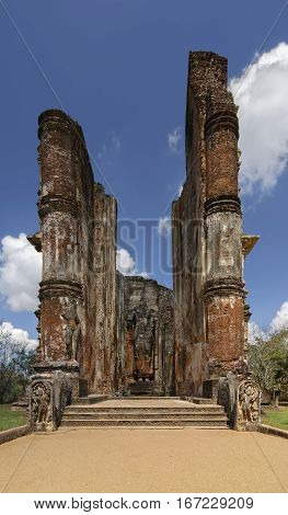 Lankatilaka temple in Polonnaruwa Sri-Lanka. ruins of the city