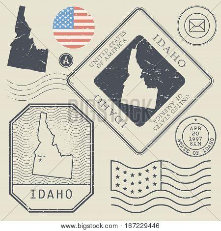 Retro vintage postage stamps set Idaho United States theme vector illustration