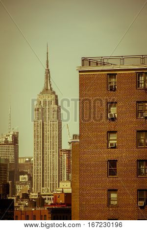 Vintage and seventies atmosphere picture of Empire State Building in New York City, Manhattan