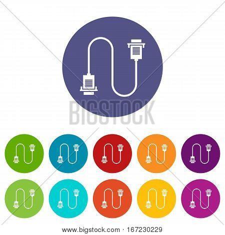 Cable wire computer set icons in different colors isolated on white background