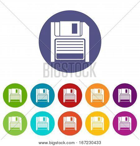 Magnetic diskette set icons in different colors isolated on white background