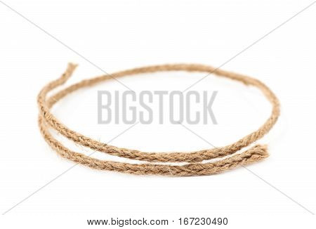 Round circle made of linen rope string isolated over the white background