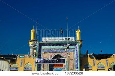 Exterior view of Al-Kadhimiya aka Golden Mosque in Baghdad Iraq