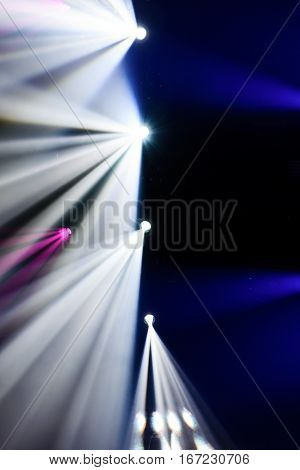 Abstract image of disco lights. Scenic Spot Light Opposite the light rays.